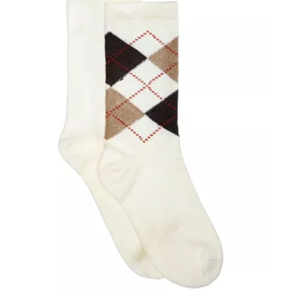 HUE Accessories - HUE 2-Pk Solid & Argyle Boot Socks Ivory NEW M143